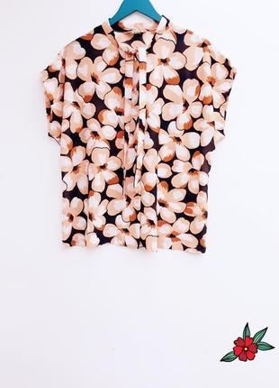 Винтажная рубашка блуза с завязками на горловине большой разме...