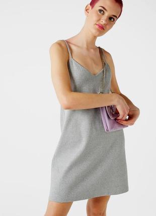 Серебристое платье слип из рельефного трикотажа