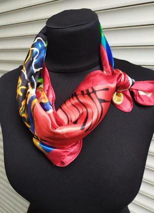 Шейный платок косынка красный радужный в наличии