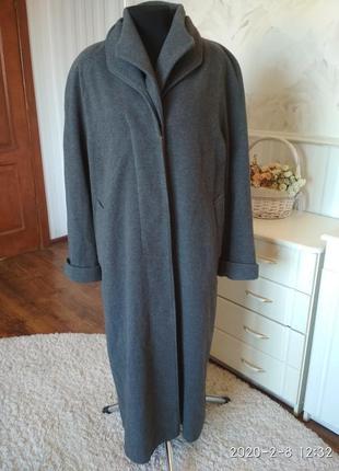 Качественное длинное пальто, 80% шерсти, размер 50-52.