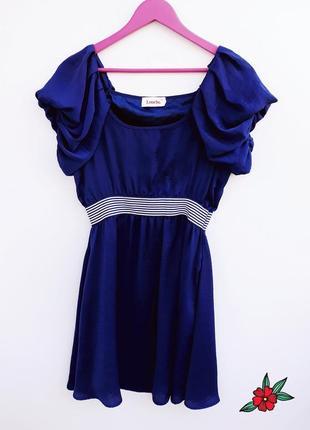 Оригинальное платье в морской тематике темно синее летнее плат...