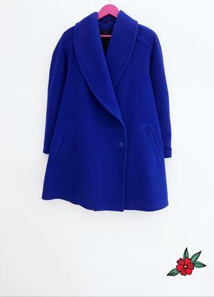 Шерстяное пальто демисезонное пальто темно синее