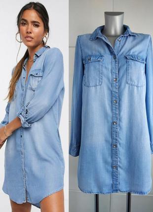 Джинсовое платье-рубашка h&m с накладными карманами