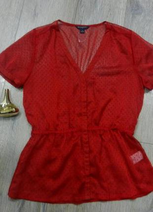 S/10/38 banana republic шикарная красная шифоновая блузка,новая
