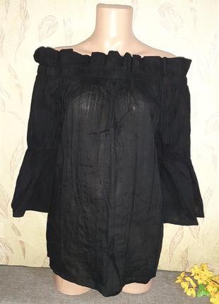 Хлопковый топ, блуза с открытыми плечами
