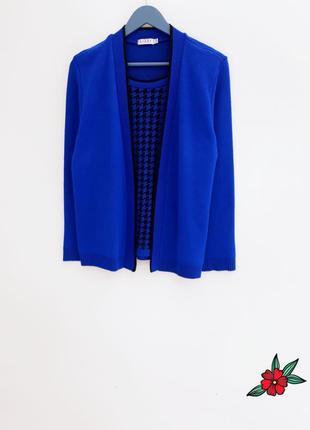 Синий свитер кардиган теплый свитер кофта