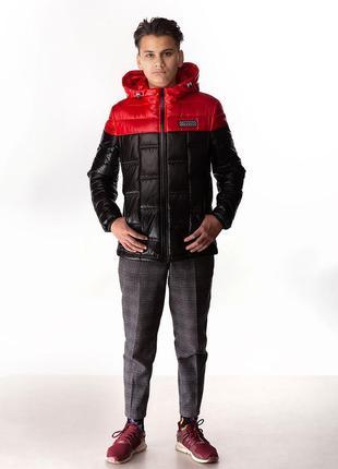 Den - детская демисезонная куртка, цвет черный/красный (плащевка)