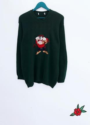 Плотный свитер теплая кофта оверсайз с вышивкой