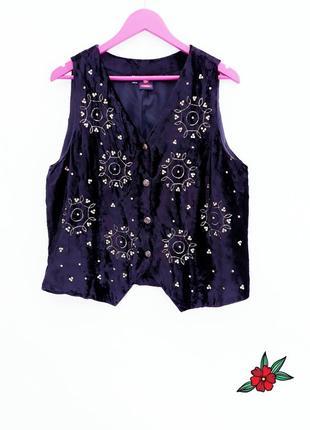 Бархатная жилетка с вишивкой в стиле винтаж бархатный жилет