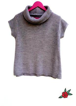 Свитер с горлом и коротким рукавом свитер грубой вязки меланже...