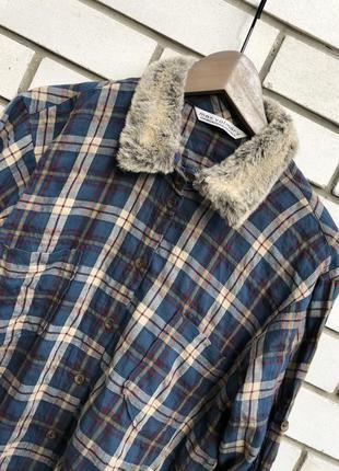 Крутая,удлиненная рубашка в клеточку с меховым воротником,прем...