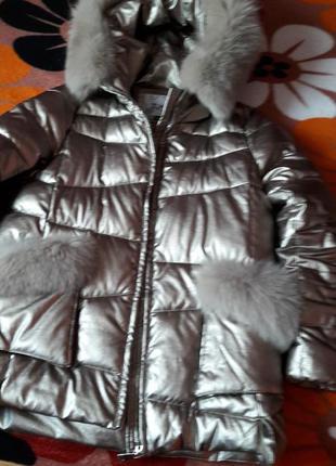 Куртка --пуховик- зима zlya с капюшоном песец.эко-кожа бронза....