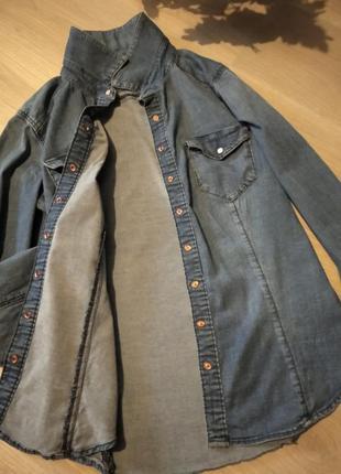 Брендовая джинсовая рубашка h&m