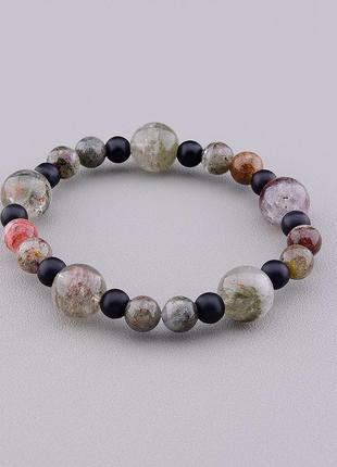 Браслет 'sunstones' фантомный кварц,шунгит 18 см. 0854970
