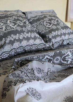 Постельное белье черное с белым