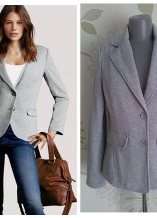 Пиджак жакет трикотажный серый