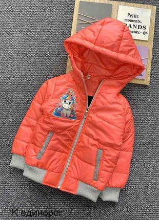 Детская деми куртка единорог