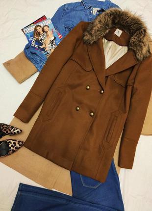 Пальто полупальто коричневое свободное оверсайз с мехом батал ...