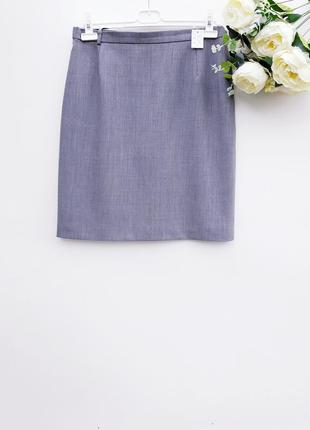 Шерстяная серая юбка миди практичная серая юбка