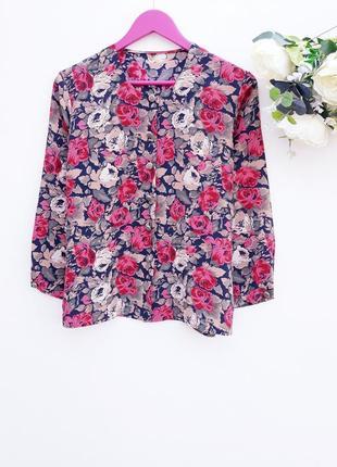 Красивая рубашка блузка в цветочный принт винтаж