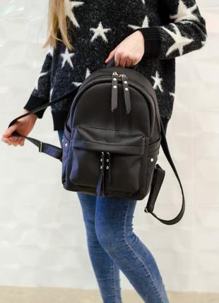 Женский чёрный кожаный рюкзак