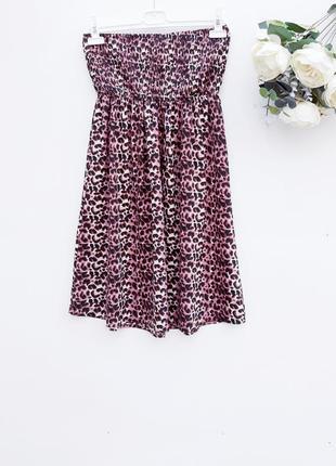 Летнее платье бюстье платье в леопардовый принт легкое воздушное