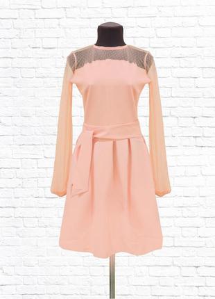 Женское платье гипюр. розовое.