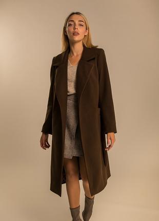 Стильное женское однотонное пальто S M L