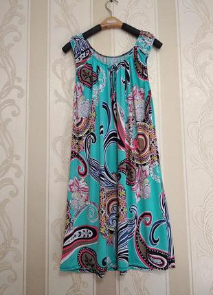 Платье туника с ярким принтом .