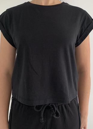 Черная футболка, футболка топ, укороченная футболка, крутая ба...