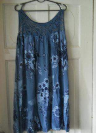 Натуральное легкое летнее платье - сарафан, италия 54-56 р.