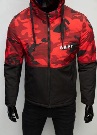 Куртка мужская демисезонная fr 8808-1 черная с красным камуфляж