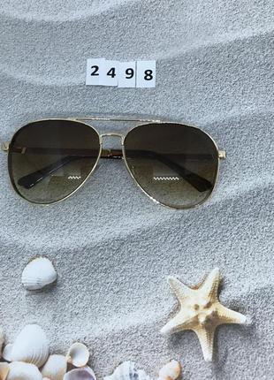 Стильные коричневые очки в форме капли к. 2498