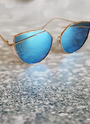 Солнцезащитные очки в стиле dior monster , цвет голубой 2421