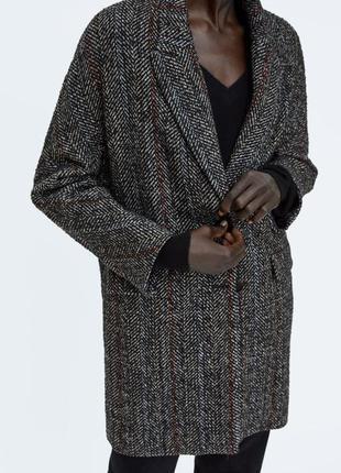 Шерстяное текстурное пальто от zara