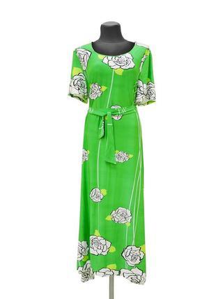 Платье из микромасла romanika. зеленое.