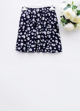Короткая летная юбка в оборки красивая юбка в цветочный принт