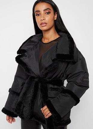 Куртка пуховик з хутром з поясом на запах оверсайз maniere de ...