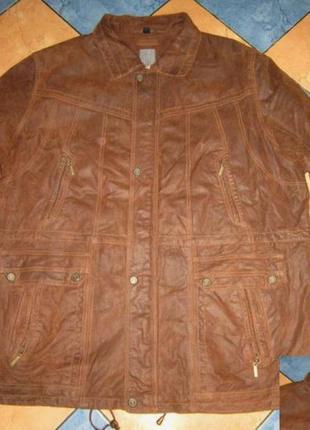 Большая утеплённая кожаная мужская куртка man's world.  лот 784