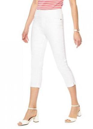 Стрейчевые белоснежные джинсовые джеггинсы капри 16/50-52 размера