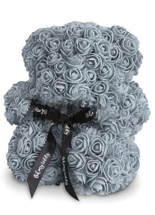 Мишка из роз в коробке 25 см - Серый