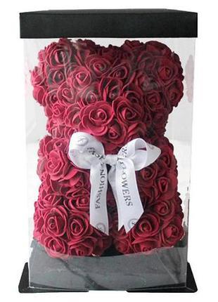 Мишка из роз в коробке 40 см - Бордовый