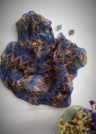 Невесомый нежный шарфик нашейный платок синий коричневый бежев...