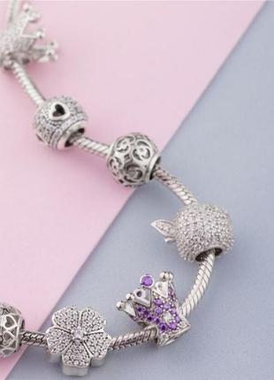 Шарм серебро 925 в стиле пандора  цветок п009