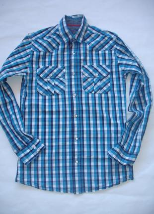 Фирменная рубашка на кнопках хлопок идеал мальчику 14-17 лет