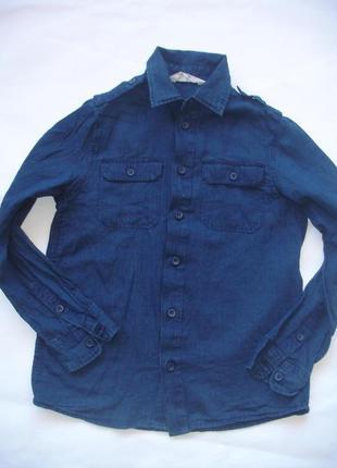 Фирменная h&m легкая джинсовая рубашка мальчику 9-10 лет хлопо...