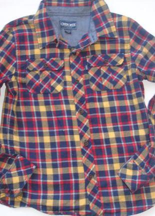 Фирменная яркая крутая байковая рубашка мальчику 9-10 лет хлоп...