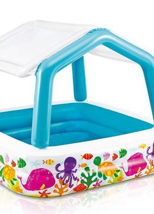 Детский надувной бассейн аквариум с навесом сьемным Intex