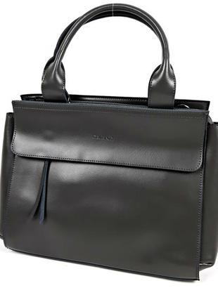 Большая кожаная сумка серая формата а4, galanty