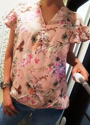 Блузка летняя футболка персиковая нежная стильная женственная ...